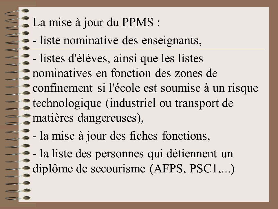 La mise à jour du PPMS : - liste nominative des enseignants,
