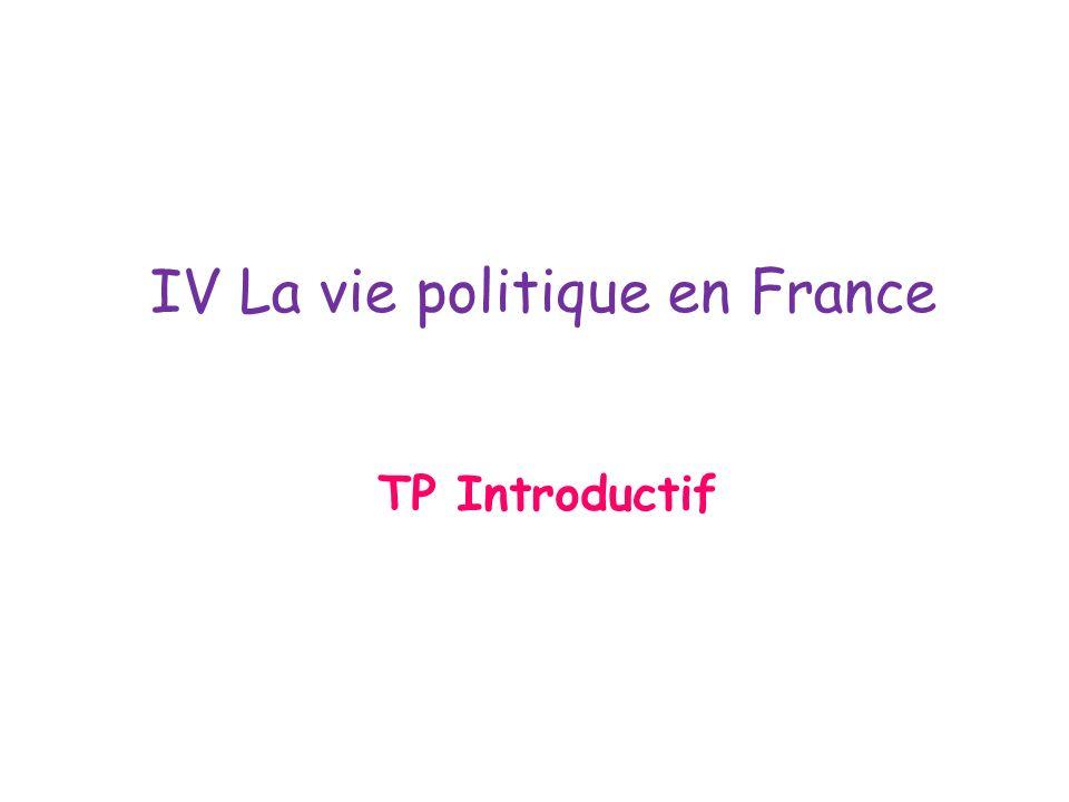 IV La vie politique en France