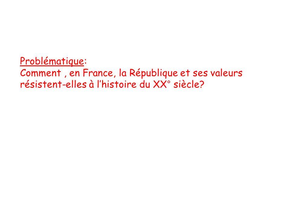 Problématique: Comment , en France, la République et ses valeurs résistent-elles à l'histoire du XX° siècle