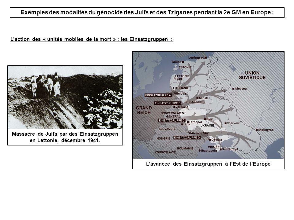 Exemples des modalités du génocide des Juifs et des Tziganes pendant la 2e GM en Europe :