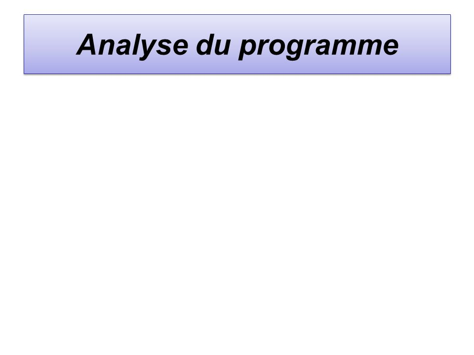 Analyse du programme