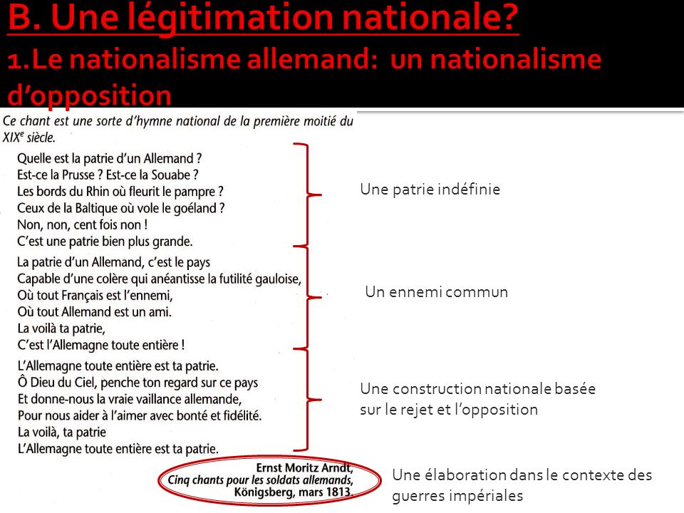 B. Une légitimation nationale. 1