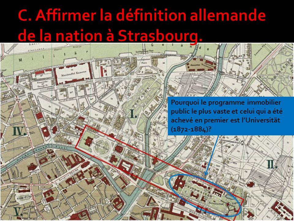 C. Affirmer la définition allemande de la nation à Strasbourg.