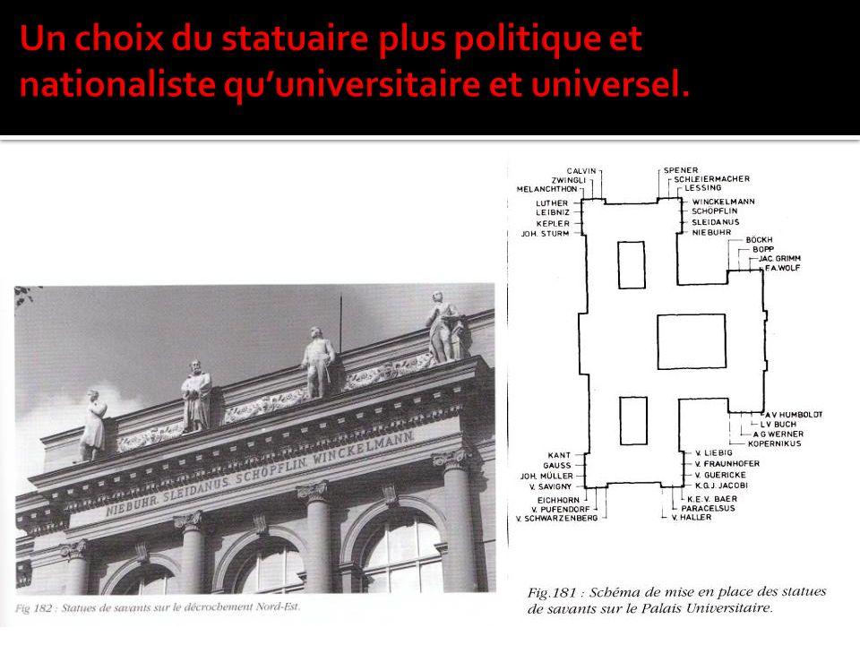 Un choix du statuaire plus politique et nationaliste qu'universitaire et universel.