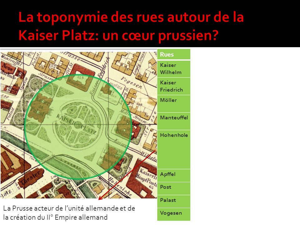 La toponymie des rues autour de la Kaiser Platz: un cœur prussien