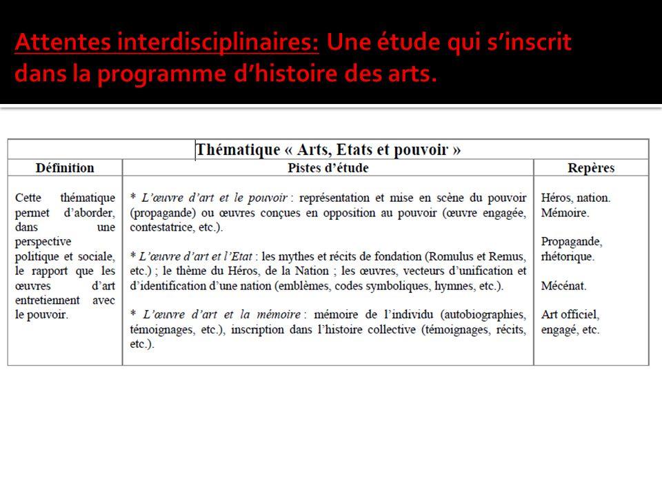 Thématique: « Arts, Etats et pouvoir »