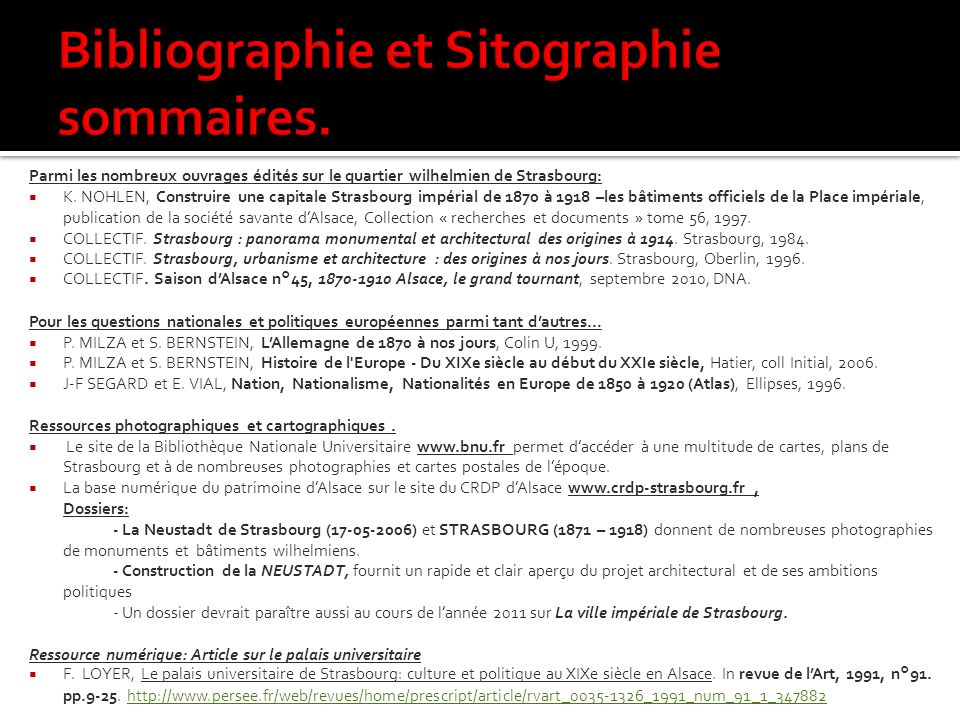 Bibliographie et Sitographie sommaires.