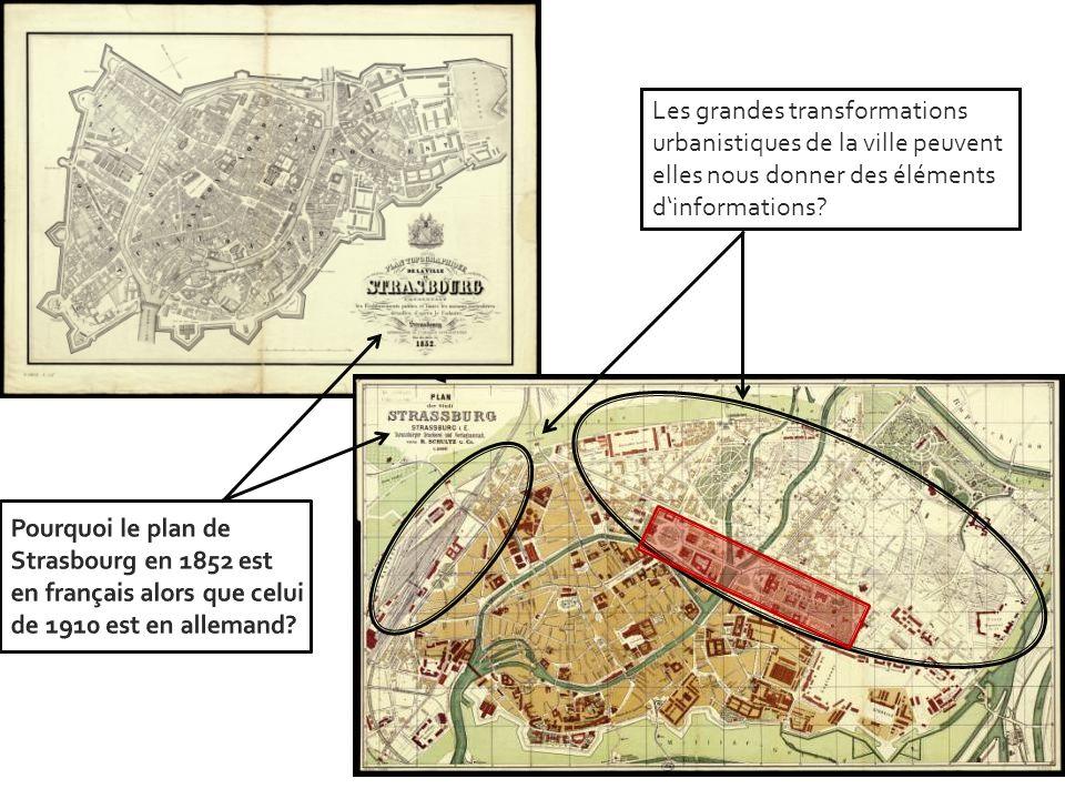 Les grandes transformations urbanistiques de la ville peuvent elles nous donner des éléments d'informations