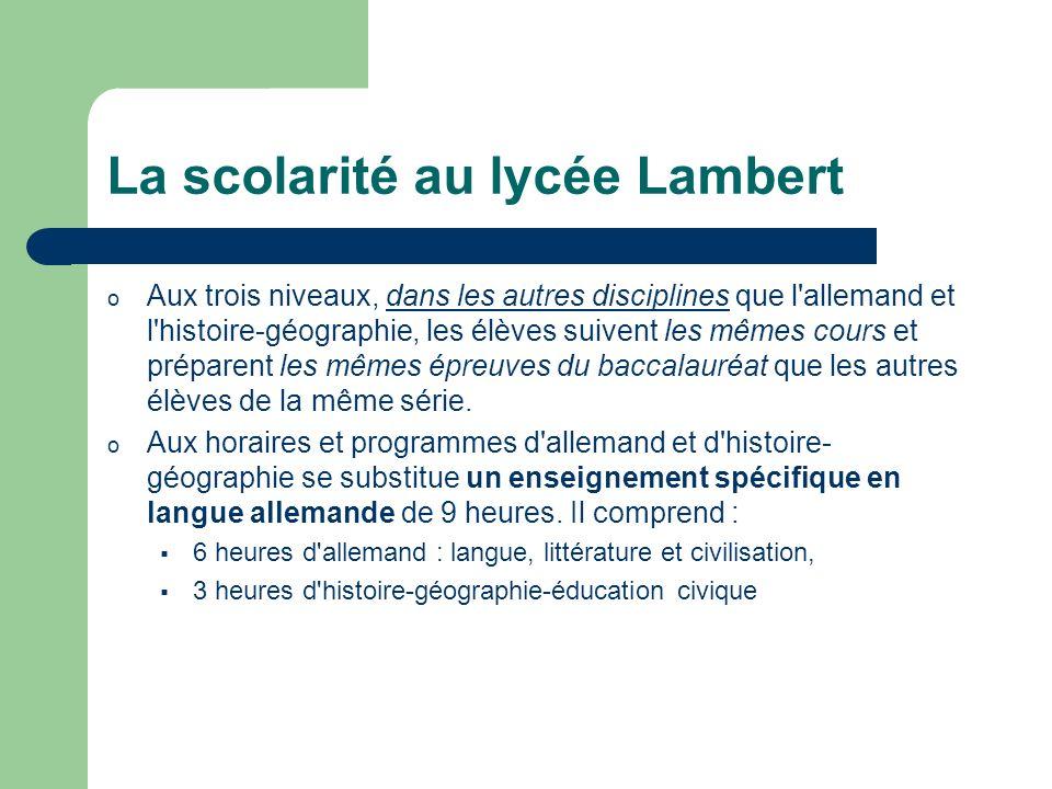 La scolarité au lycée Lambert