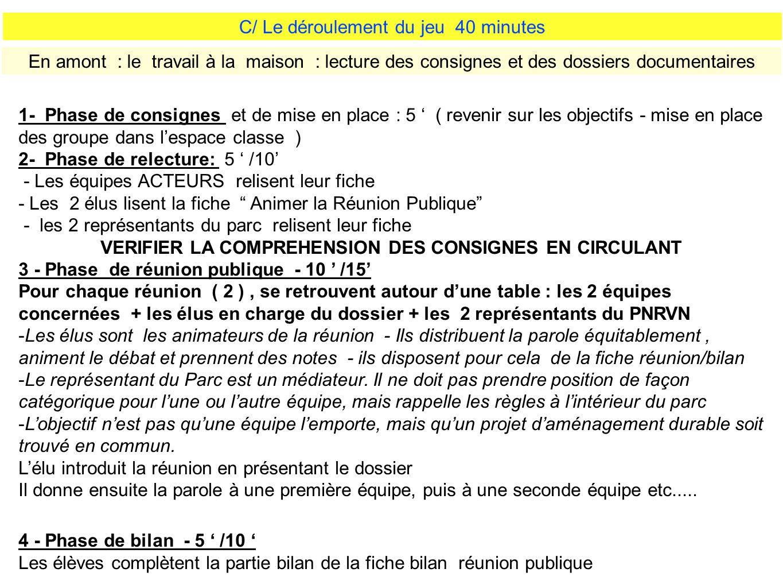VERIFIER LA COMPREHENSION DES CONSIGNES EN CIRCULANT