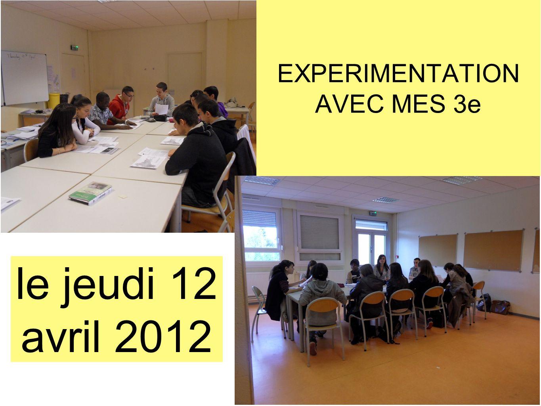 EXPERIMENTATION AVEC MES 3e