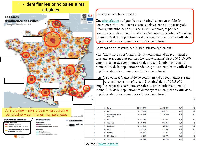 1 - identifier les principales aires urbaines
