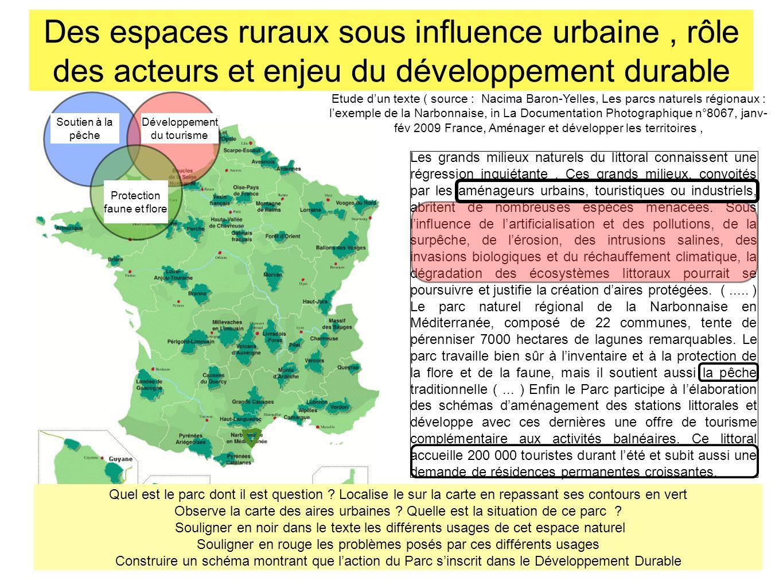 Des espaces ruraux sous influence urbaine , rôle des acteurs et enjeu du développement durable
