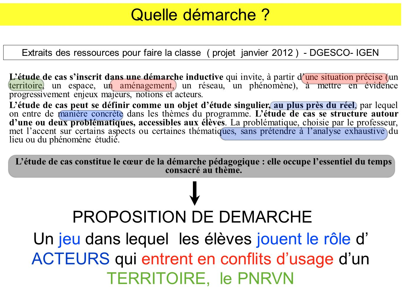 PROPOSITION DE DEMARCHE