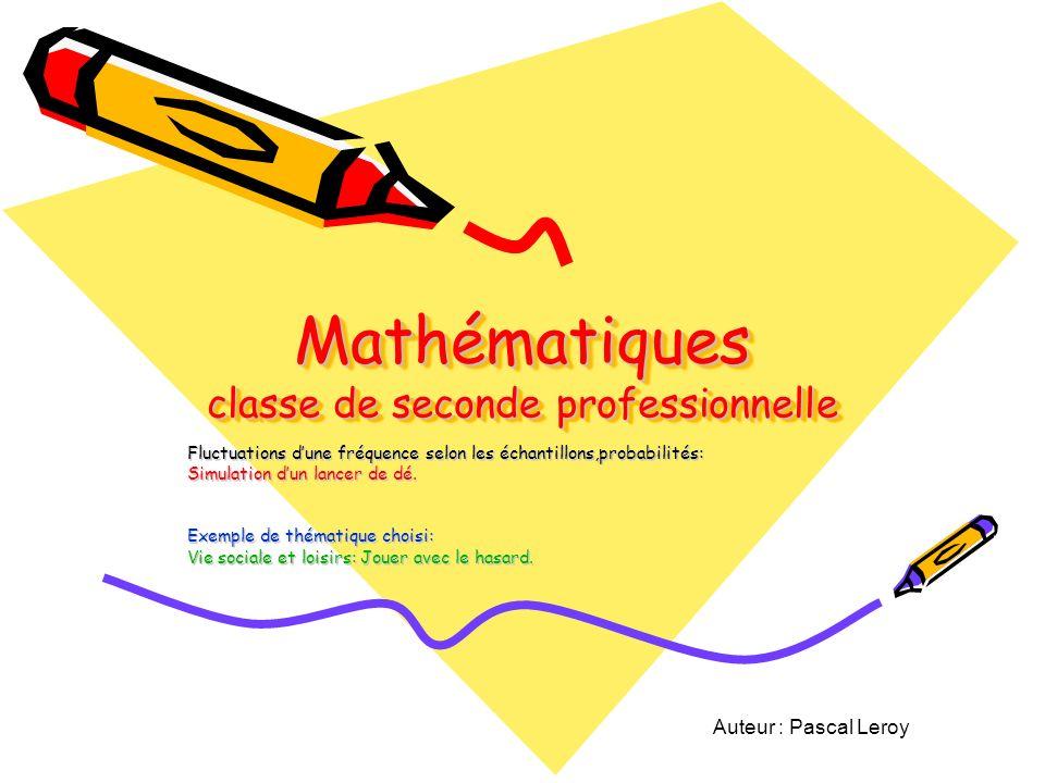 Mathématiques classe de seconde professionnelle