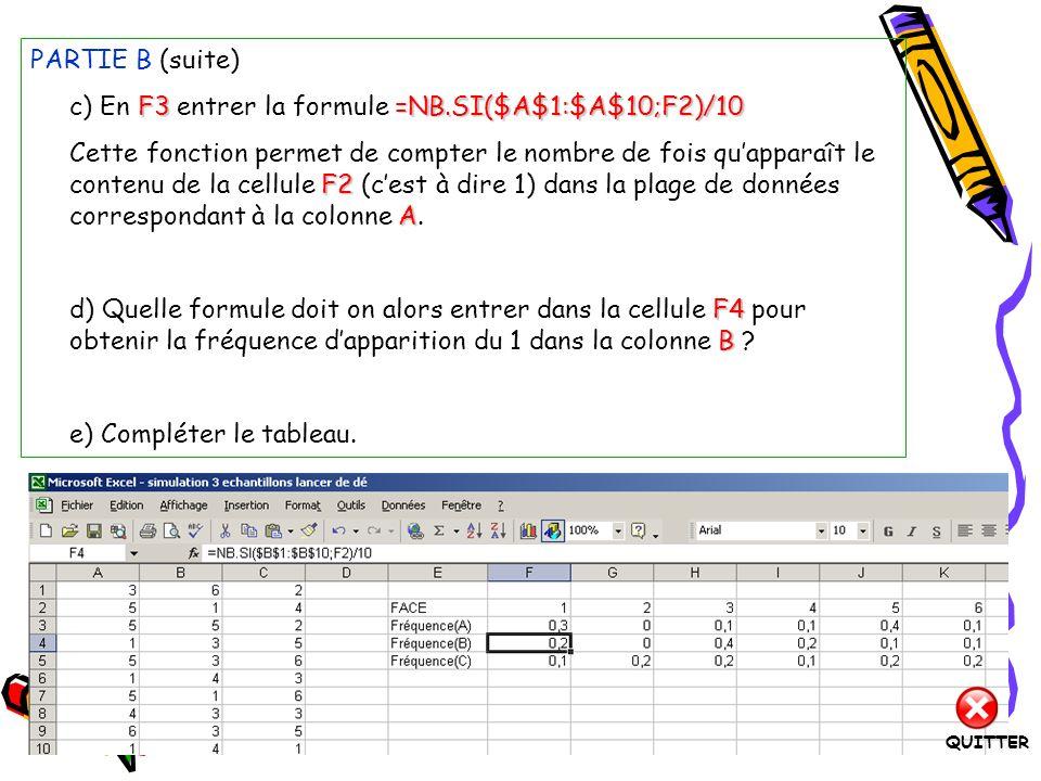 c) En F3 entrer la formule =NB.SI($A$1:$A$10;F2)/10