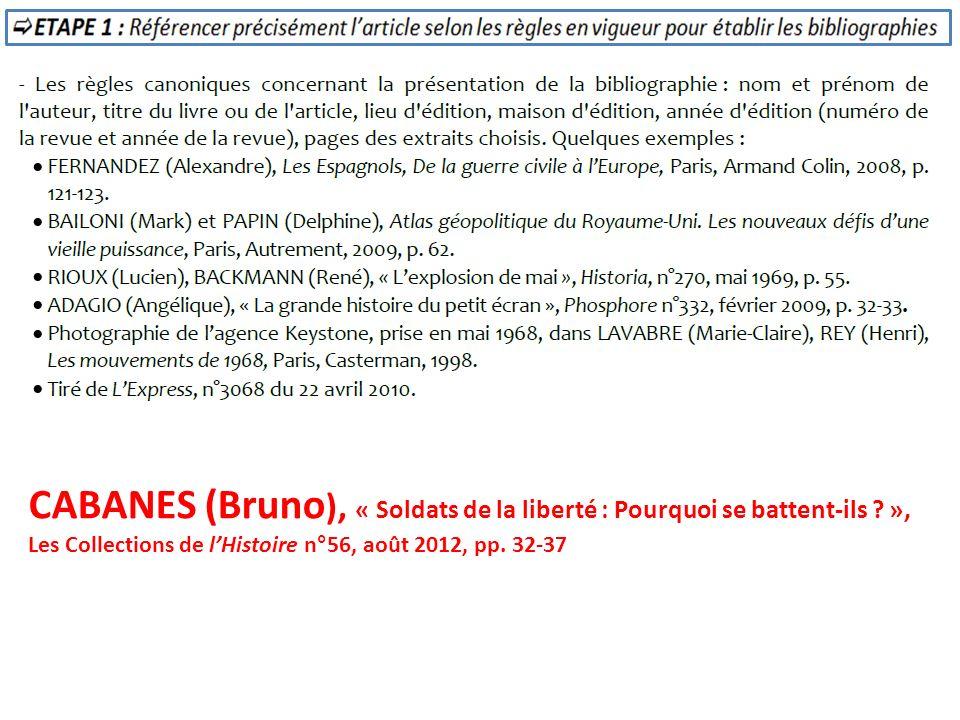 CABANES (Bruno), « Soldats de la liberté : Pourquoi se battent-ils