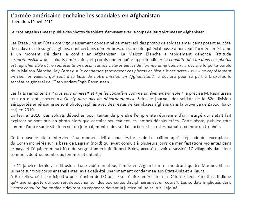 L armée américaine enchaîne les scandales en Afghanistan