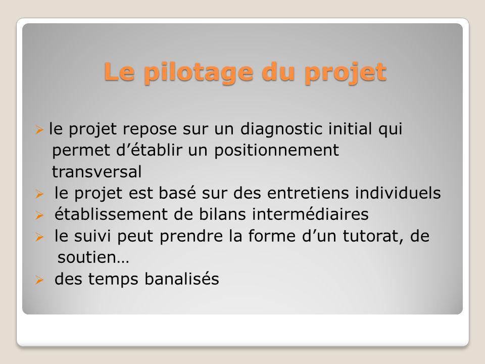 Le pilotage du projet le projet repose sur un diagnostic initial qui