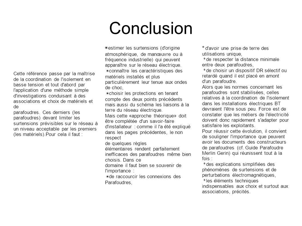 Conclusion ٭estimer les surtensions (d origine