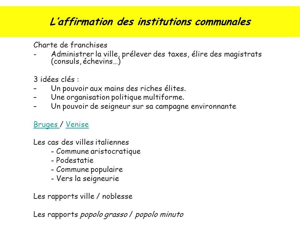 L'affirmation des institutions communales
