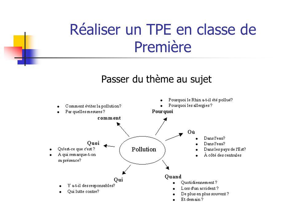 Réaliser un TPE en classe de Première