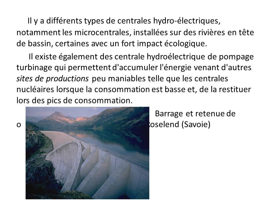 Il y a différents types de centrales hydro-électriques, notamment les microcentrales, installées sur des rivières en tête de bassin, certaines avec un fort impact écologique.
