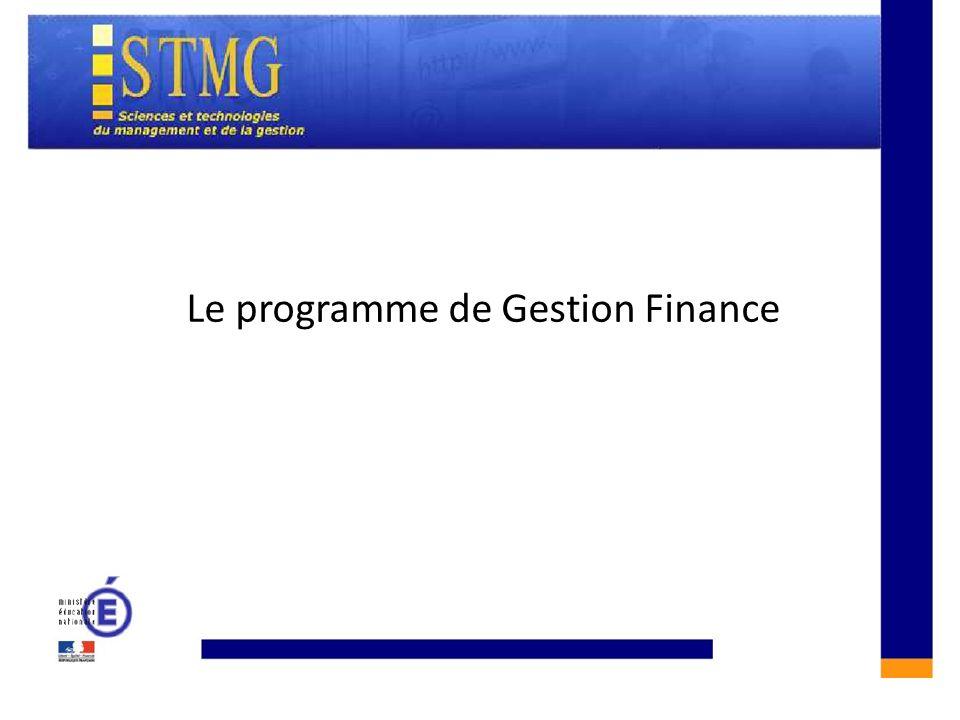 Le programme de Gestion Finance