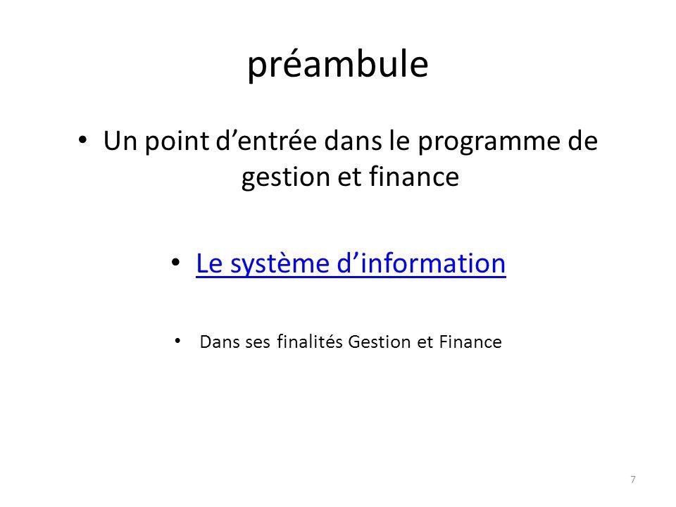 préambule Un point d'entrée dans le programme de gestion et finance