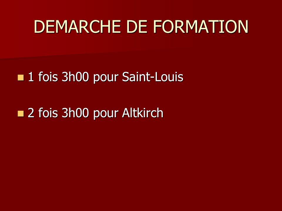 DEMARCHE DE FORMATION 1 fois 3h00 pour Saint-Louis