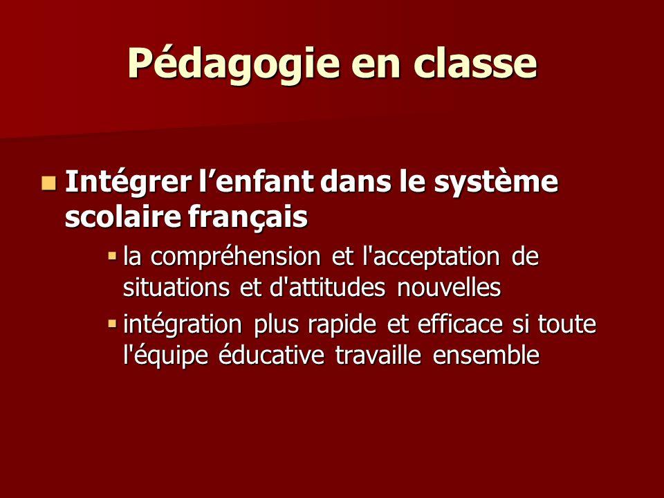 Pédagogie en classe Intégrer l'enfant dans le système scolaire français. la compréhension et l acceptation de situations et d attitudes nouvelles.