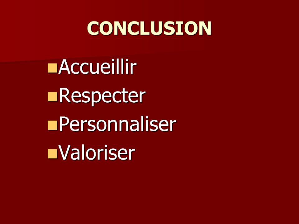 CONCLUSION Accueillir Respecter Personnaliser Valoriser