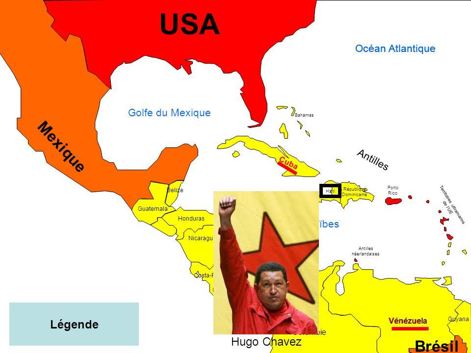 USA Mexique Brésil Légende Hugo Chavez Océan Atlantique