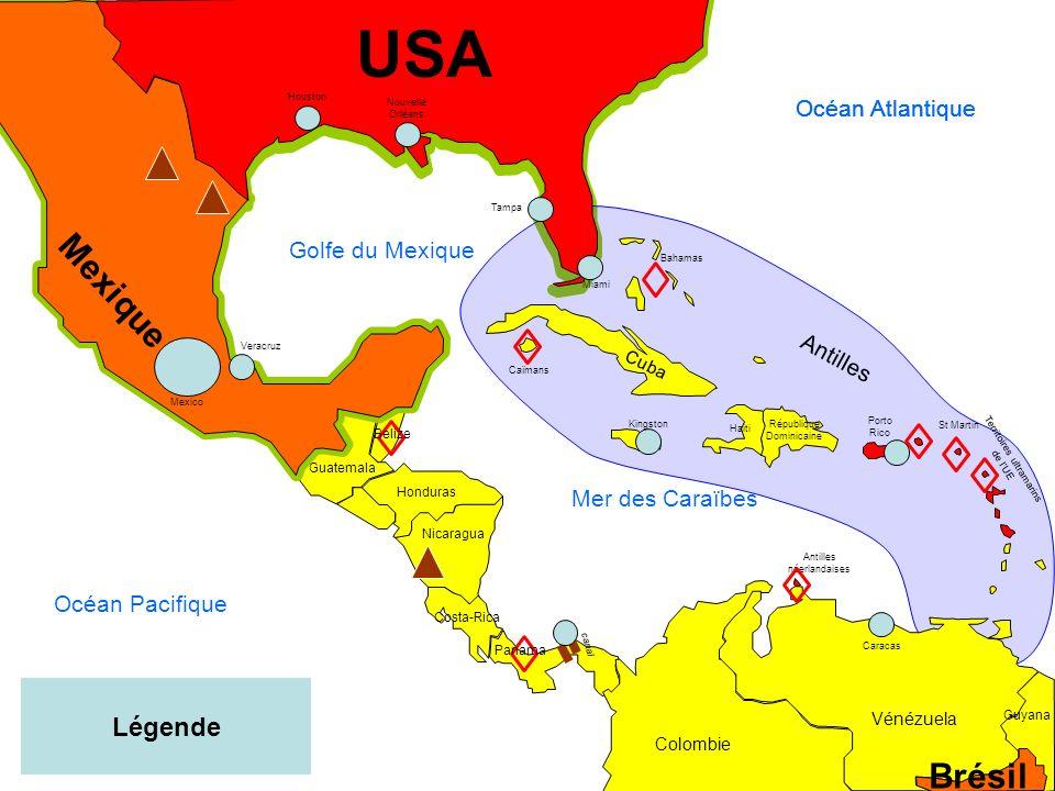 USA Mexique Brésil Légende Océan Atlantique Océan Atlantique