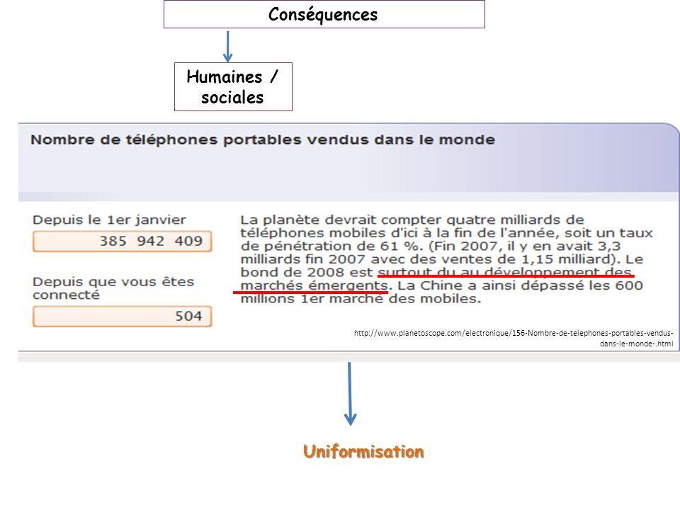 Conséquences Humaines / sociales Uniformisation