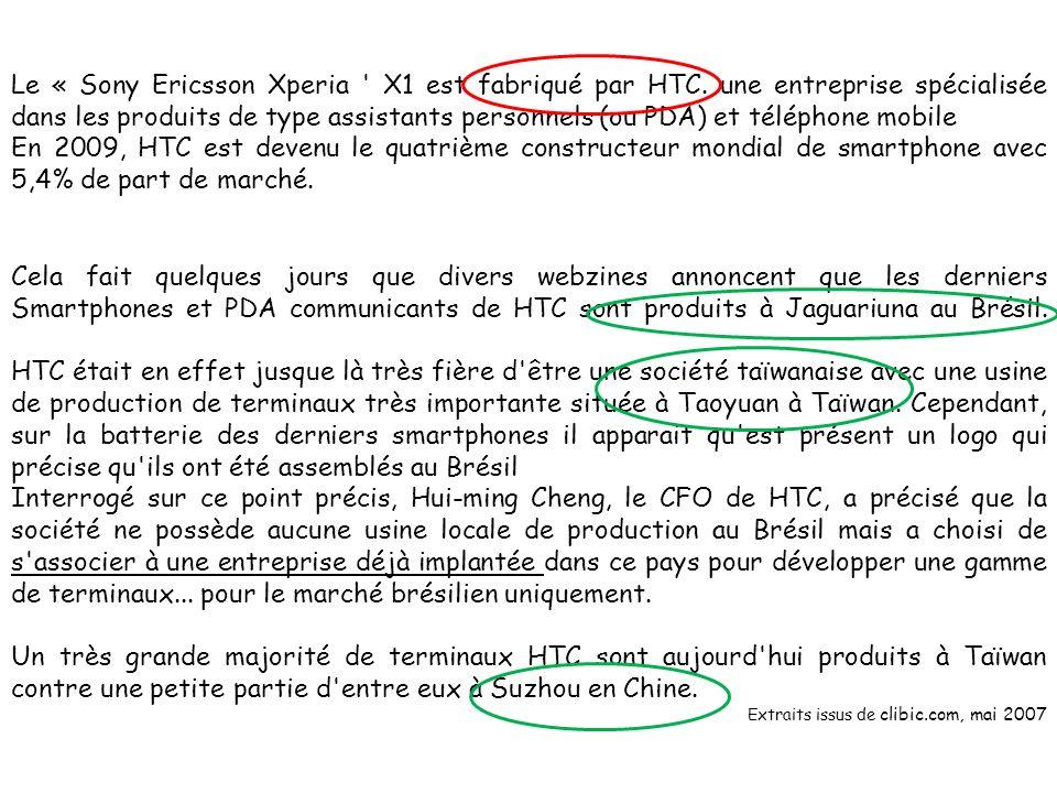 Le « Sony Ericsson Xperia X1 est fabriqué par HTC