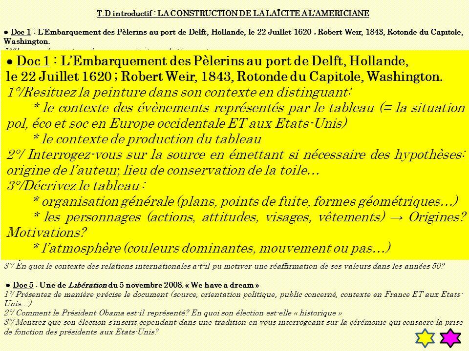 T.D introductif : LA CONSTRUCTION DE LA LAÏCITE A L'AMERICIANE
