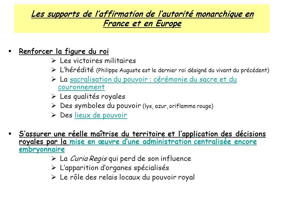 Les supports de l'affirmation de l'autorité monarchique en France et en Europe