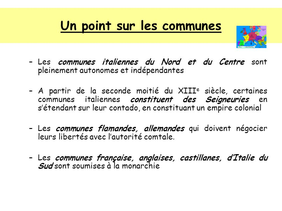 Un point sur les communes