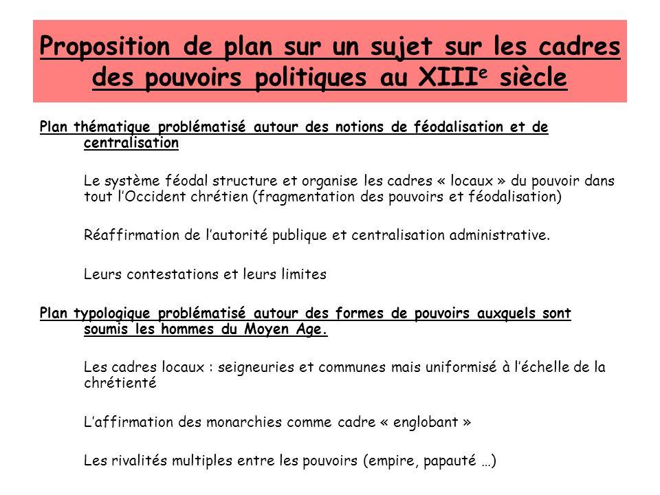 Proposition de plan sur un sujet sur les cadres des pouvoirs politiques au XIIIe siècle