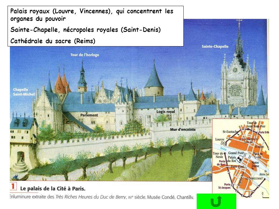Palais royaux (Louvre, Vincennes), qui concentrent les organes du pouvoir