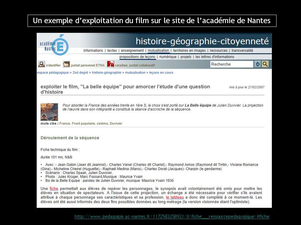 Un exemple d'exploitation du film sur le site de l'académie de Nantes