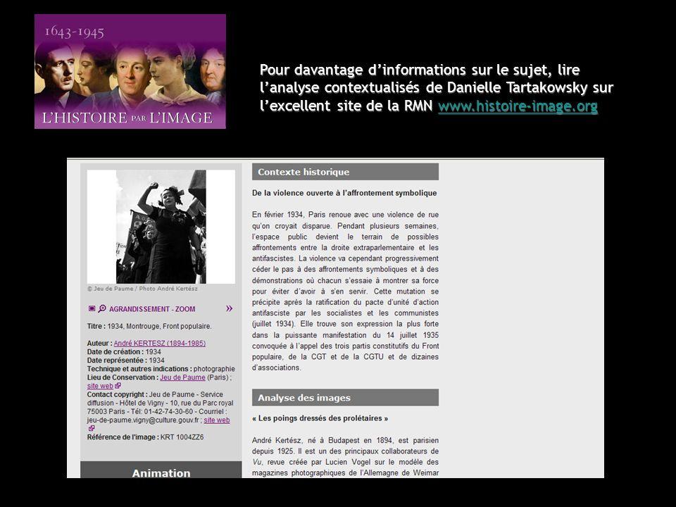 Pour davantage d'informations sur le sujet, lire l'analyse contextualisés de Danielle Tartakowsky sur l'excellent site de la RMN www.histoire-image.org