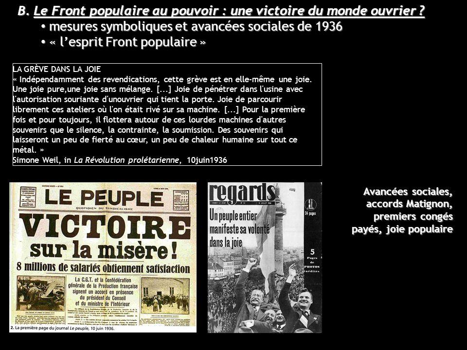 B. Le Front populaire au pouvoir : une victoire du monde ouvrier