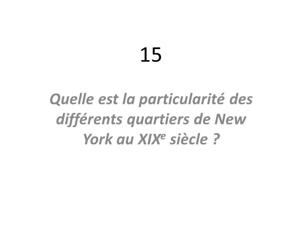 15 Quelle est la particularité des différents quartiers de New York au XIXe siècle