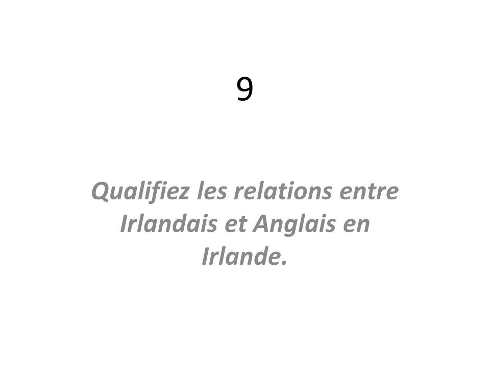 Qualifiez les relations entre Irlandais et Anglais en Irlande.