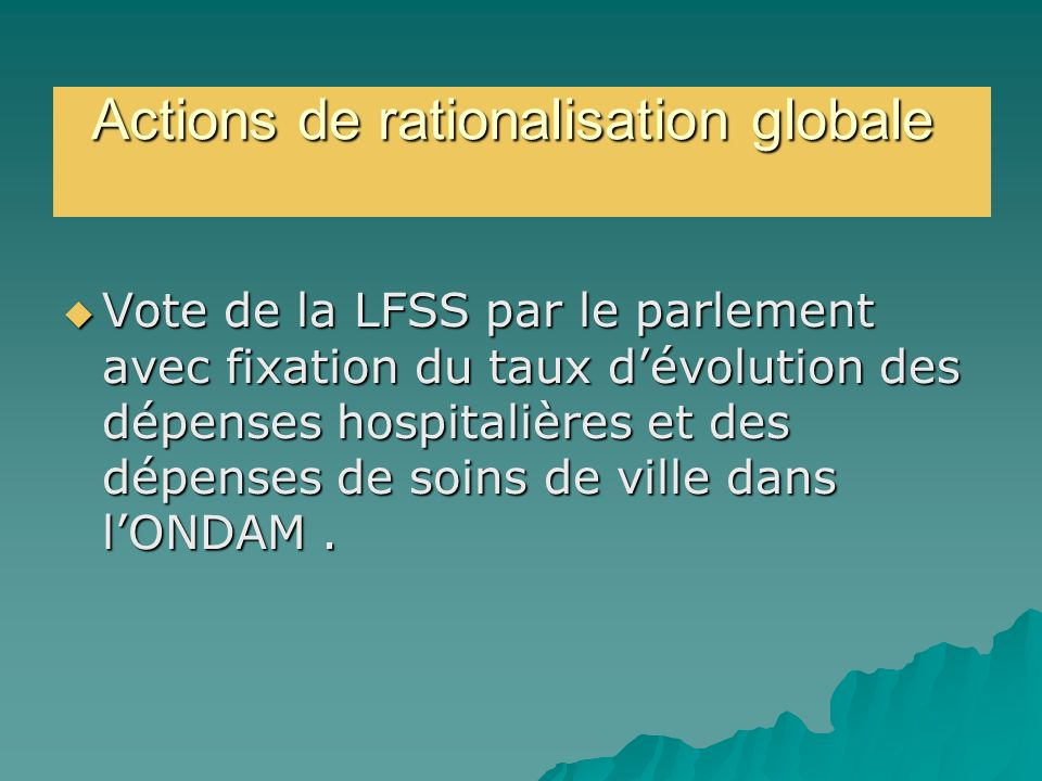Actions de rationalisation globale