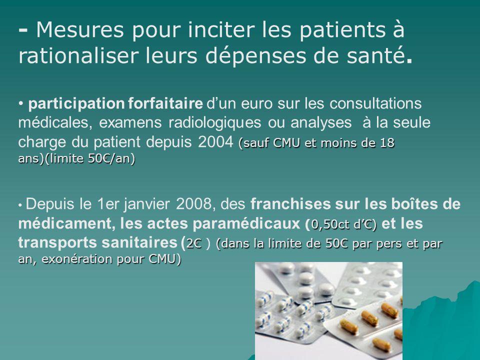- Mesures pour inciter les patients à rationaliser leurs dépenses de santé.