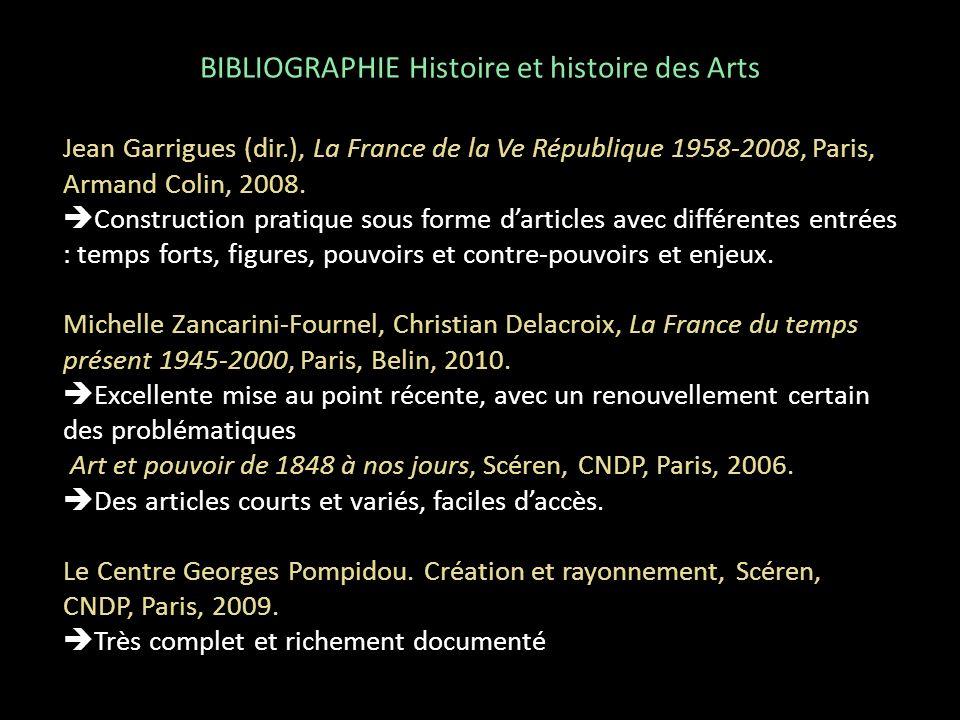 BIBLIOGRAPHIE Histoire et histoire des Arts