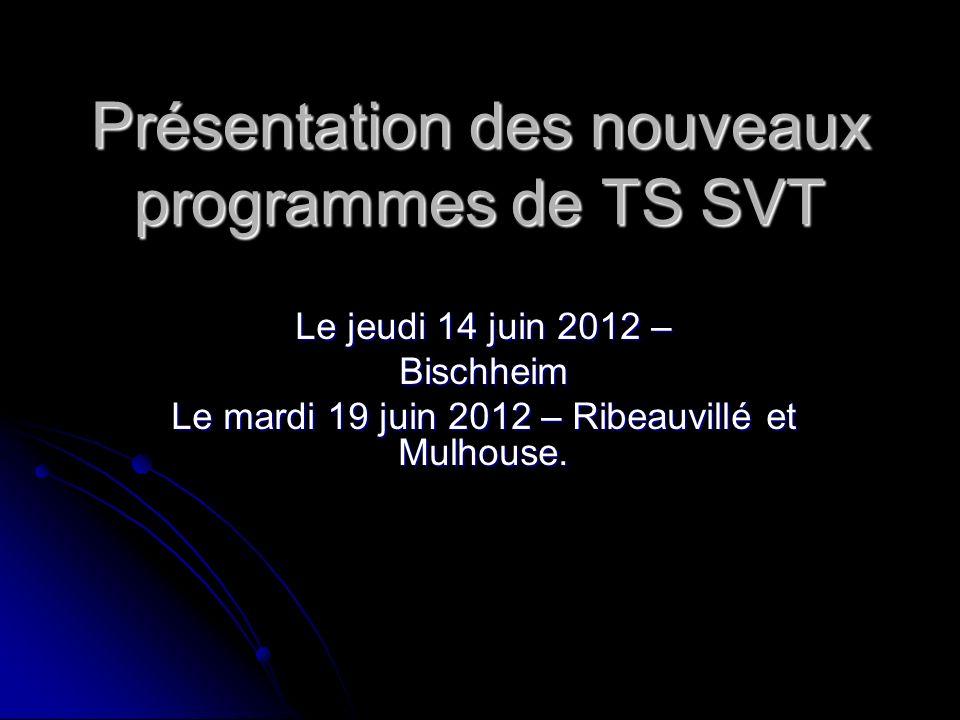 Présentation des nouveaux programmes de TS SVT